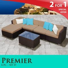 """Premier Outdoor Wicker 6 Piece Patio Set Taupe Covers -06D by TK Classics. $1399.00. 4"""" Welted cushions for a luxurious look and feel. """"No Sag"""" solid wicker bottoms with extra flexible strapping providing long-lasting suspension. Fully Assembled - ready to relax and enjoy. Versatile design for ANY patio size. Affordable and comfortable Modular Furniture allows for endless arrangement possibilities. 2 for 1 Special: Purchase 1 of our Classic Patio Sets and recei..."""