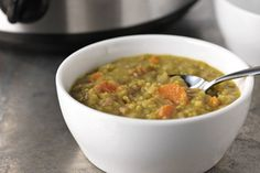 This slow-cooker split pea soup gets an extra layer of deliciousness with the addition of finely chopped ham.