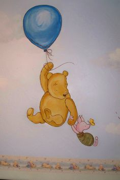 Vintage Winnie the Pooh Wall Murals | Classic Winnie the Pooh hand painted wall…