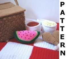 Picnic Basket Play Food Crochet Pattern - finished items made from pattern may be sold. $6.00, via Etsy.