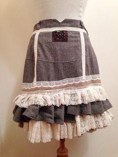 Tweed ruffle skirt by NaturallyBohemian on Etsy