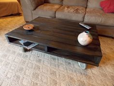An Inexpensive Coffee Table from an old wood pallet!  #MinwaxatSnap #MeetBruce