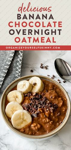 This Chocolate Banana Overnight Oats recipe is rich, chocolaty, and delicious. It's easy to make, uses simple, wholesome pantry ingredients, and the perfect portable healthy breakfast recipe. Make a few jars on Sunday to enjoy all week. Organize Yourself Skinny Healthy Breakfast Meal Prep Recipes Banana Recipes Clean Eating, Healthy Banana Recipes, Healthy Desserts For Kids, Healthy Freezer Meals, Quick Easy Desserts, Healthy Breakfast Smoothies, Healthy Breakfasts, Quick Snacks, Skinny Recipes