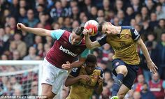 The Hammers striker (left) was a problem for Arsenal in the air and scored two of his goals from headers