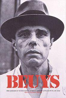 Joseph Beuys fou un artista alemany, principalment escultor i que destacà pels seus happening. És un dels co-fundadors del moviment Fluxus.