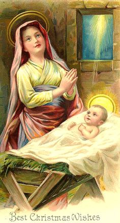 Mary and Jesus Vintage Christmas Cards, Vintage Holiday, Christmas Wishes, Christmas Pictures, Vintage Cards, Victorian Christmas, Christmas Nativity, Christmas Art, Xmas