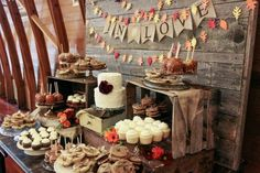 dessert table: I love the small cake here! And the idea of Carmel apples and eve… dessert table: I love the small cake here! And the idea of Carmel apples and even pumpkin pie for additional desserts. Wedding Cookies, Wedding Desserts, Fall Desserts, Dessert Bars, Dessert Buffet, Lila Party, Apple And Eve, Jenny Cookies, Bar A Bonbon