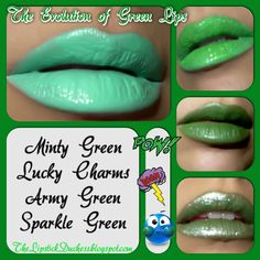 THE EVOLUTION OF GREEN ~ a collage of old pics of They are all mixes of and and I did use some if my Anyway I kept mixing and it evolved! I named them too. Green Lipstick, Makeup Forever, Your Lips, Old Pictures, Army Green, Evolution, Mua Makeup, Eyeshadows, Nyx
