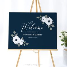 This wedding welcome sign printable is an easy-to-use template, adorned with lovely watercolor anemones. Just edit, download and print! #weddingsignsdiy #navywedding #diyweddingdecor Wedding Menu Cards, Wedding Signage, Diy Wedding Decorations, Ceremony Decorations, Top Wedding Trends, Wedding Ideas, Anemone Wedding, Anemones, Wedding Welcome Signs