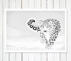 Snow Leopard Illustration Print Animal Drawing Snow by lanakat Cheetah Tattoo, Big Cat Tattoo, Jaguar, Snow Leopard, White Leopard, Line Art Tattoos, Mandala Tattoo Design, White Ink, Black And White