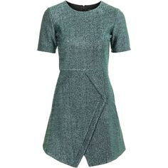 TOPSHOP Tinsel Wrap A-Line Dress (4,480 PHP) ❤ liked on Polyvore featuring dresses, green, green a line dress, blue dress, blue wrap dress, a line dress and topshop dresses