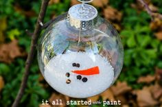 Melted Snowman Ornament   - just use a clear Christmas ball ornament, then open top to add Epsom salt, a triangle of orange felt, and peppercorns!  So easy...