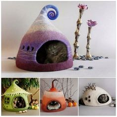 Felted cat caves!