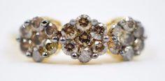 Beautiful 10K 2-Tone Gold 0.50ct Champagne Diamond Flower Fashion/Cocktail Ring  | eBay