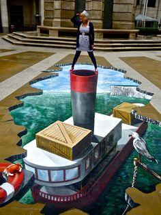 Ahoy!  3D Chalk Art Ship                                                                                                                                                                                 More