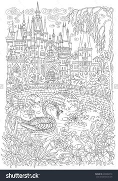 Fantasy Landscape. Fairy Tale Castle, Stylized Swan Bird, Lake, Medieval Stone Bridge Coloring Book Page For Adults.