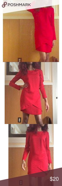 Red 100% Polyester Dress 💸WILLING TO NEGOTIATE THE PRICE SO DON'T BE AFRAID TO MAKE AN OFFER!😌💸 Details - Size: 2, Color: Red, Only been worn once, No rips, no holes, no stains, in perfect condition! Great dress for the holidays✨ Dresses Long Sleeve