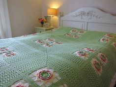 "This is gorgeous! I want it for my bedroom... ""Crochet Irish Rose Afghan - 200 cm x 200 cm - Custom Order Crochet Blanket"""