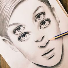 double eyes, drawing, realistic, abstract, surreal, art, sketch, dilara us, illustration