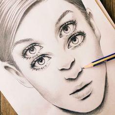 double eyes, drawing, realistic, abstract, surreal, art, sketch, dilara us, illustration