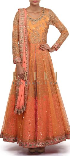Buy Online from the link below. We ship worldwide (Free Shipping over US$100). Product SKU - 305505.Product Link - http://www.kalkifashion.com/peach-and-pink-anarkali-suit-adorn-in-thread-and-zari-embroidery-only-on-kalki.html