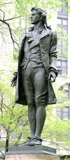 1) Statue of Civil War Nathan Hale at City Hall in Lower Manhattan | Nathan Hale was the sole volunteer for spy mission proposed by George Washington going behind enemy lines & discover where British planned to attack during Battle of Long Island | Hale went undercover as a schoolteacher from Connecticut, which was exactly who he was before the Revolutionary War.  He was  ready  to be of service. It wasn't long b/4 he was caught behind enemy lines. Stories of how it occurred are disputed.