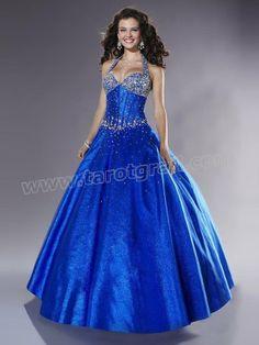 Ball Gown Halter Beading Sleeveless Floor-length Chiffon Dress / Evening Dress