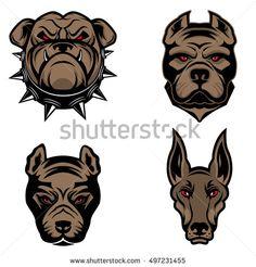 Set of the dogs heads isolated on white background. Pit bull, doberman, bulldog.  Design element for logo, label, emblem, sign, brand mark. Vector illustration.