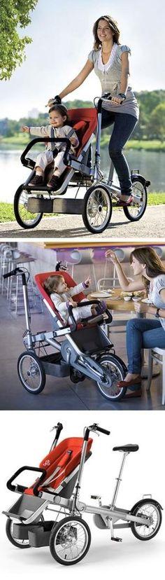 Um carrinho de bicicleta! // Combinando duas grandes tendências em um - carrinhos premium e bicicletas portadora criança. Award-winning design by Taga. Genius! #product_design by Divonsir Borges