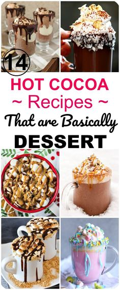 15 delicious hot cocoa recipes that are basically yummy desserts! Perfect hot chocolate ideas for your hot cocoa bar! Drink Recipes Nonalcoholic, Easy Drink Recipes, Healthy Dessert Recipes, Easy Desserts, Delicious Desserts, Yummy Food, Healthy Meals, Hot Cocoa Recipe, Cocoa Recipes