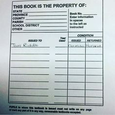 You might want to exchange that book for a new one. Classroom Humor, Teacher Problems, Chamber Of Secrets, Student, Writing, School, Books, Instagram, Libros