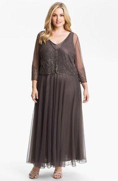 J Kara Beaded Chiffon Dress & Jacket (Plus) available at #Nordstrom