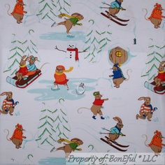 Boneful Fabric Fq Cotton Quilt Scenic Sled Ski Ice Skate Snowman Xmas Tree  Mouse