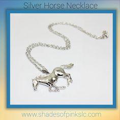 Horse necklace www.shadesofpinkslc.com