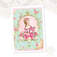 Marie Antoinette vintage rose wallpaper greeting by mulberrymuse,
