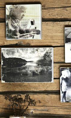 Tee rakkaista muistoista tauluja | Meillä kotona Recycled Crafts, Diy And Crafts, Decorating Your Home, Decoupage, Recycling, Polaroid Film, Rustic, Photography, Home Decor