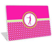 Laptop Skin -Figure Skating - Pink and Green Polka-Dots by gollygirls