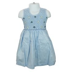 """Freya (Blue) - Traditional smocked dress with embroidery overlay.  Sleeveless style.  Button fastening of the straps and back, with matching fabric """"ribbons"""" to tie a bow. Available in sizes 1-8 years."""