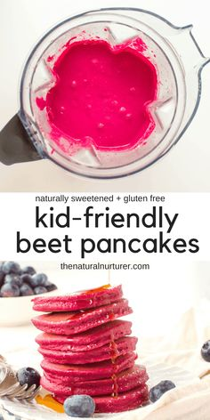 These fun pink beet pancakes are quickly mixed in your blender, are super kid-friendly, full of healthy beets, naturally sweetened and can easily be made gluten free. Baby Food Recipes, Cooking Recipes, Kid Cooking, Skillet Recipes, Cooking Tools, Toddler Meals, Kids Meals, Croissants, Healthy Snacks
