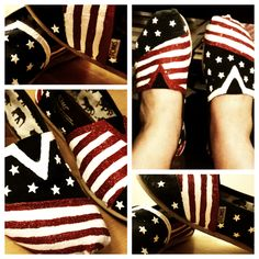 upcycled my worn out navy @TOMS to make my new favorite summertime kicks. #amurica #starsandstripes #olympkicks