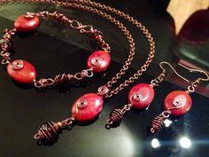 Coral wrapped in antique copper set, necklace,bracelet & earrings. https://www.facebook.com/JulesLittleGems2011