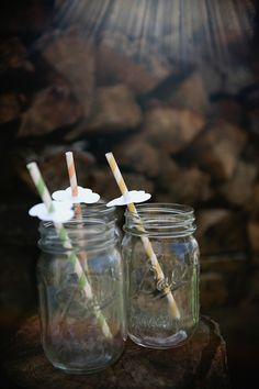 mason jars + paper straws + paper clouds = a rainy day party