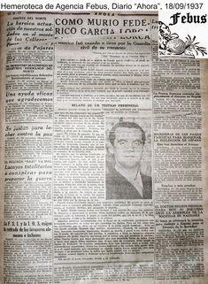 Este artículo, publicado, en 1937, en el Diario Ahora, es totalmente desconocido hasta la fecha, ha sido recuperado por la Agencia Febus y c... Virginia Woolf, Literature, Granada, War, Gig Poster, Federico Garcia Lorca, Writing A Book, Worldmap, Old Advertisements