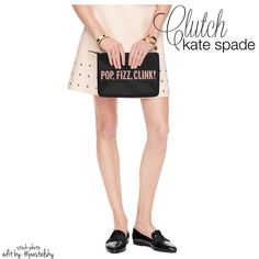 "KATE SPADE ""pop, fizz, clink!"" clutch/pouch NEW, never opened or used and in perfect condition. adorable zippered pouch, perfect for phone, keys, coins, etc.  height- 7"" length- 10"" width- flat  please don't hesitate to ask questions. happy POSHing    use offer feature to negotiate price on single item  i do not trade or take any transactions off poshmark, so please do not ask. kate spade Bags"