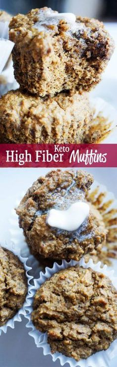 These high fiber muffins are the on the go keto breakfast you've been looking for. Low carb, high fiber!