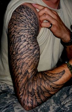 sleeve feather tattoo