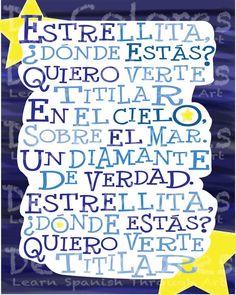 Twinkle Twinkle Little Star Estrellita Donde Estas Childrens. learn spanish kids