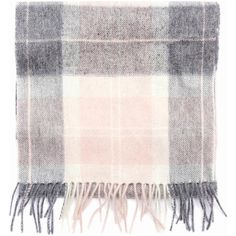 Women's Barbour Tartan Scarf - Pink / Grey Tartan ($46) ❤ liked on Polyvore featuring accessories, scarves, pink scarves, gray shawl, tartan plaid scarves, barbour and plaid shawl