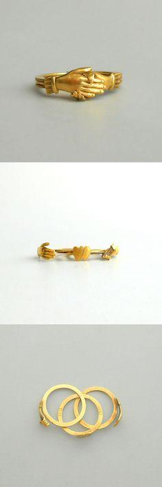 Antique Fede Gimmel Ring . 18k Gold Hands & Hearts. Engagement. Wedding Band.