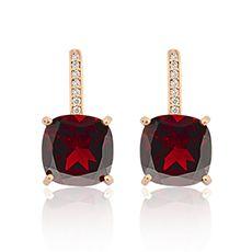 Brinco Ouro Rosé Diamante e Granada Brisa